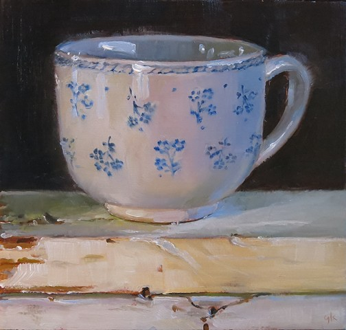 oil painting, still life, tea cup