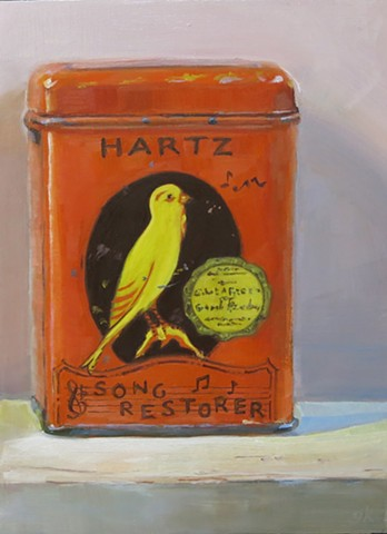 still life, oil painting, vintage tin can,  Hartz Mountain bird seed