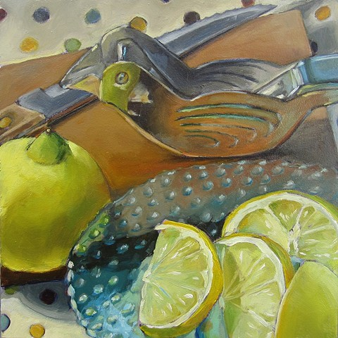 still life, bird, lemons, cutting board, knife