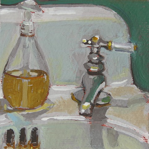 still life, acrylic painting,bathroom sink,faucet, soap