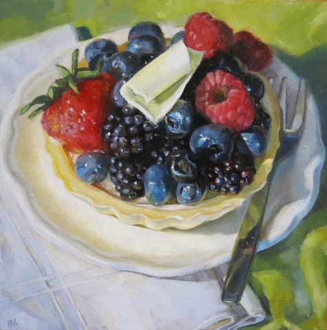 oil painting, still life, fruit tart