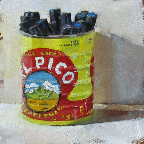 Oil painting, still life, can of markers