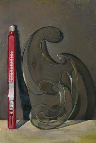 oil painting, still life, refillable eraser, French curve, Arches Huile Paper
