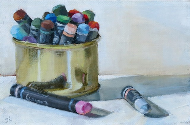 oil painting, still life, can of oil pastels