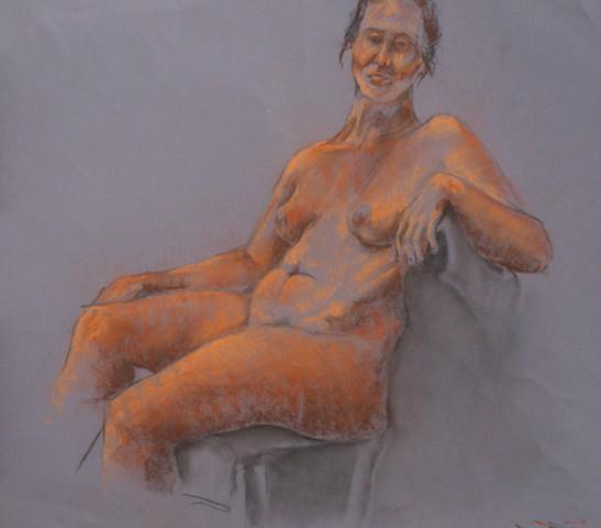 Orange Seated Female Nude