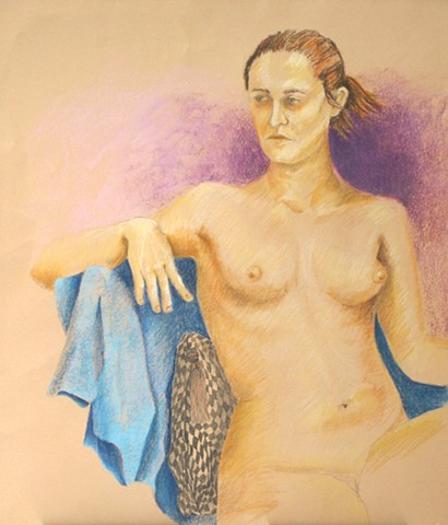 Female Nude Seated with Checked Pillow