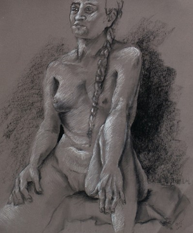 Charcoal Female Nude with Braid