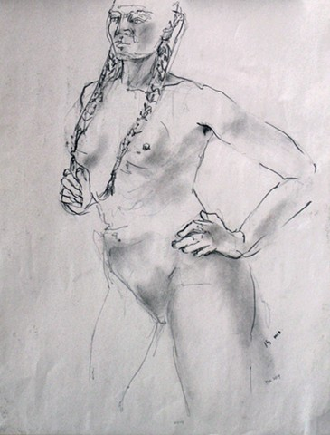 Graphite Sketch Female Nude with Braid