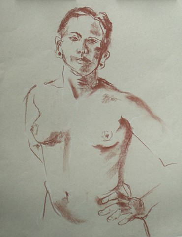 Female Nude Torso Sketch