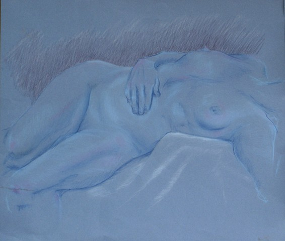 Pale Blue Reclining Nude