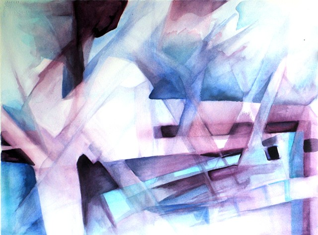 3 Objects blue purple streaked abstract