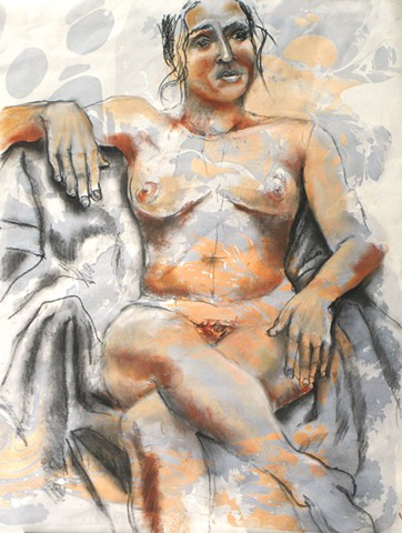 Marbled Seated Female Nude