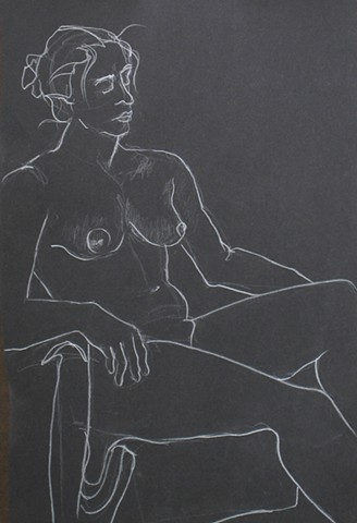 Female Nude Contour on Black