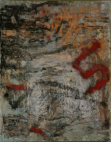 abstract painting in black,red and earth tones. 4X5 ft.