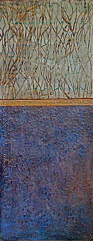 diptych in luminescent blues and silver