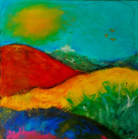 colorful landscape in acrylic...impressionistic