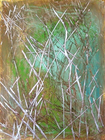 encaustic painting, pale green,blue, with old silver accents