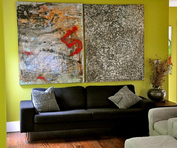 impressionistic paintings in black and grey tones with hits of red.