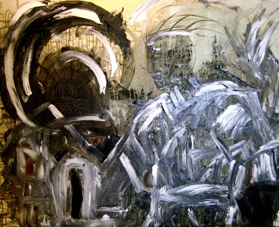 dramatic, masculine painting in black, grey, white, tan