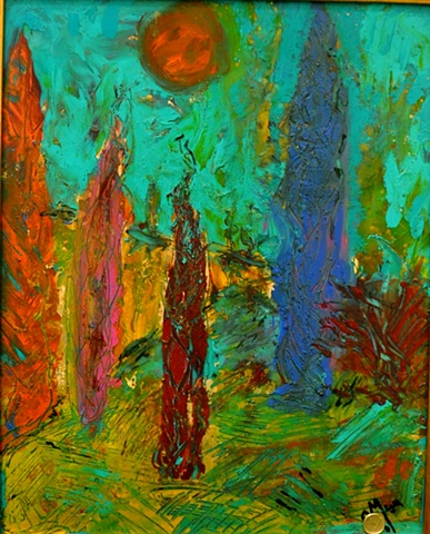 painting on canvas, and under and over the glass..landscape