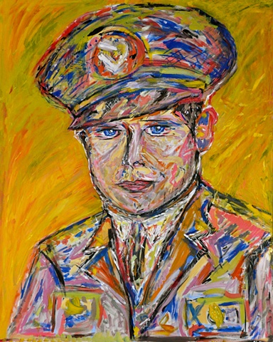 large colorful painting of man in Army uniform