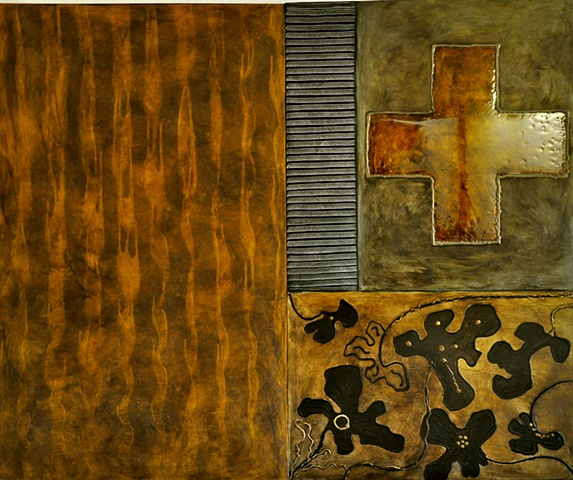 large abstract painting, earth tones ..resin/mixed media