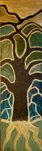 original impressionistic painting on canvas...black, blue, green, pale gold of a Mesquite tree and mountains