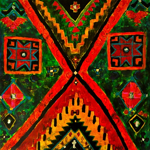 this is an ethnic piece painted on canvas and under the glass...colorful