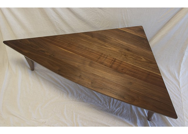 Top View, Triangular Walnut Coffee Table