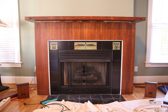 New mantle in place; fitting the new surround.