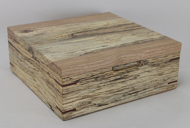 spalted red oak, jewelry box, keepsake box
