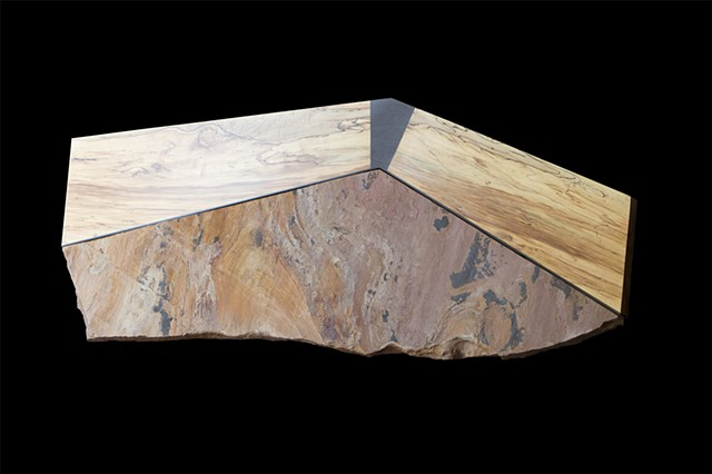 Top View of Slate and Spalted Maple Coffee Table