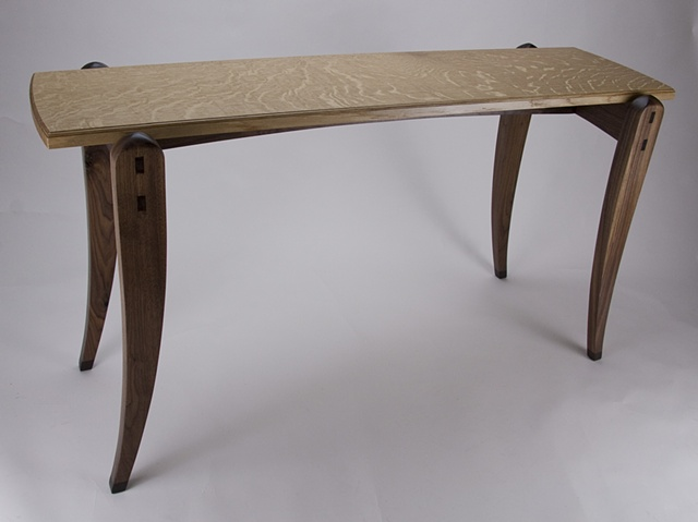 Oak Top Side Table with Walnut Base