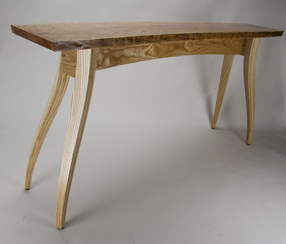 Cherry top table with bent, laminated ash legs