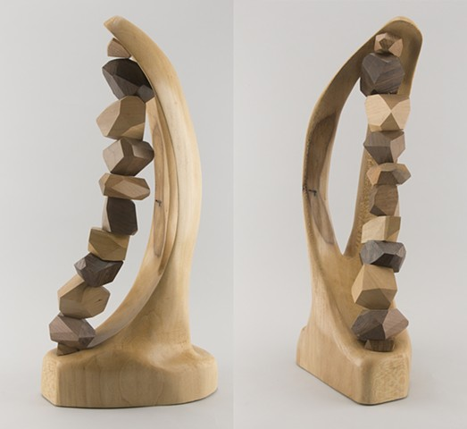 abstract wood sculpture, catenary curve, mixed hardwoods