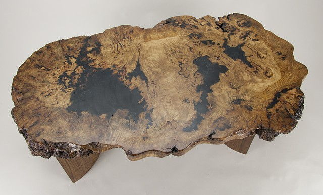 Top view of white oak burl coffee table