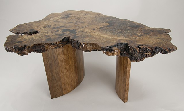 White oak burl top coffee table with quartersawn, coopered white oak base