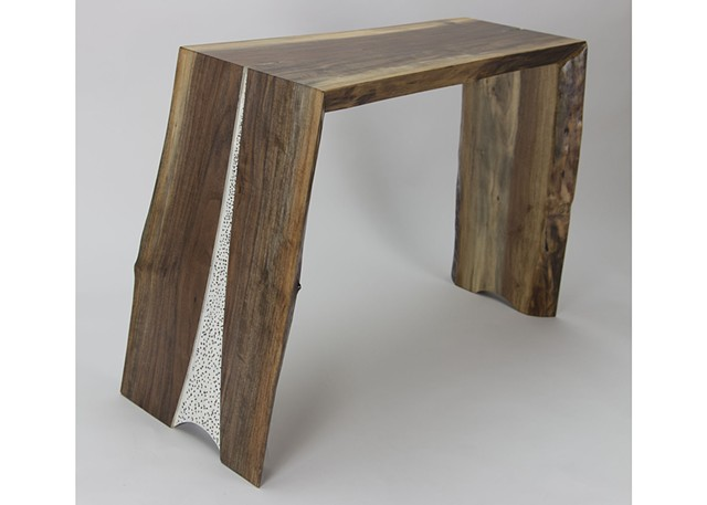 walnut, live edge, textured surface, end table