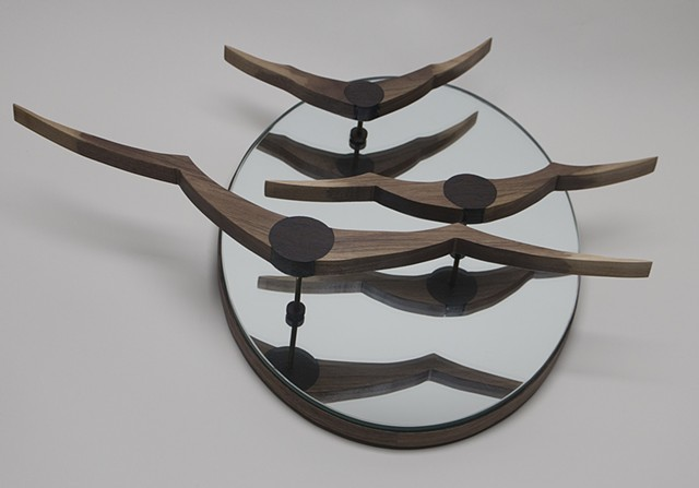 birds in flight, sculpture, mirror, wall hanging