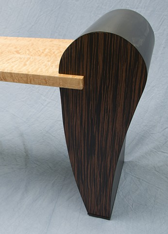 Curly Maple Bench End Detail