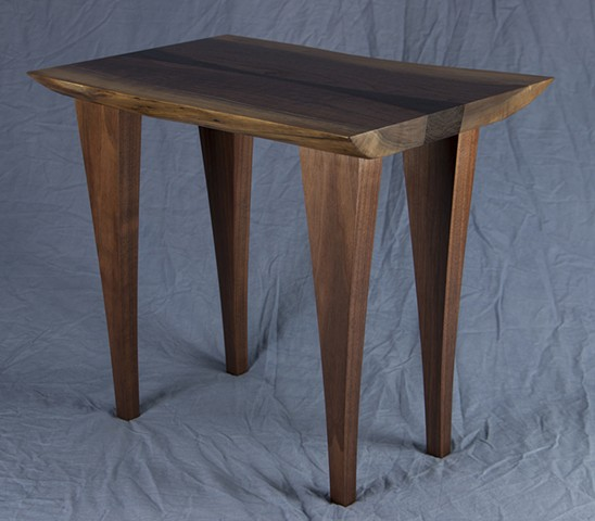 wenge inlay, chair side table, live edge walnut