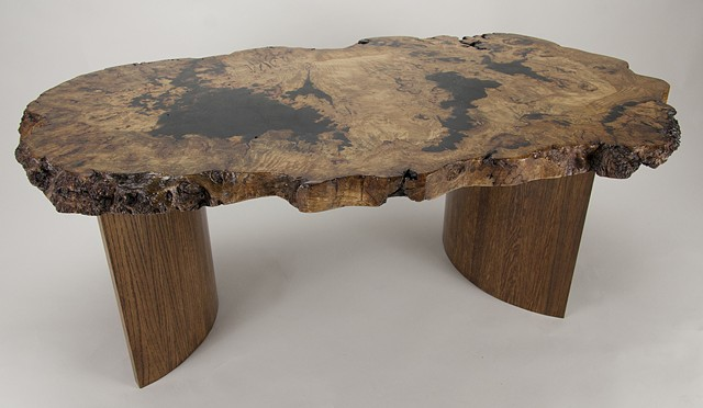 White oak burl coffee table with coopered white oak base