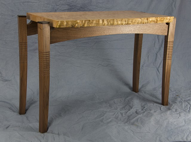 curly maple, walnut side table