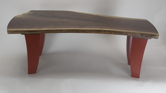 crotch walnut coffee table