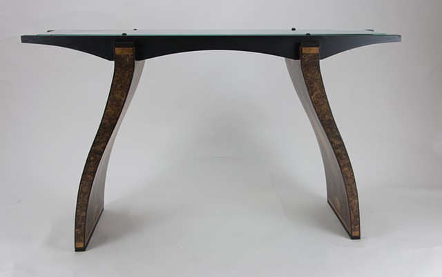 Glass Top Table With Walnut Burl