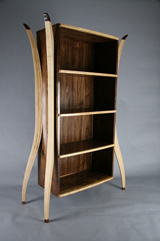 Walnut and Maple open Cabinet