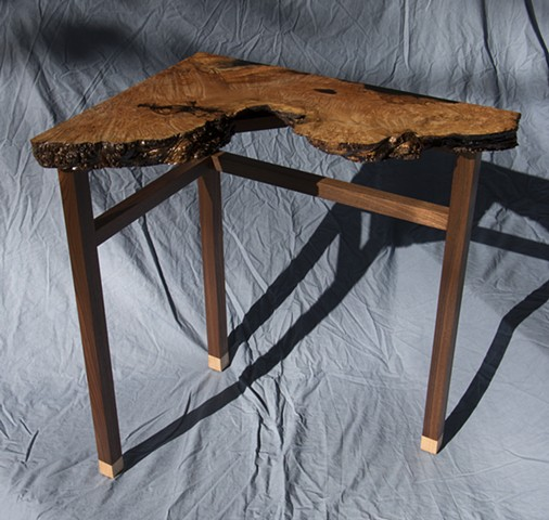 maple burl, curly maple, walnut, corner table