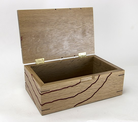 White Oak Jewelry Box with lid open