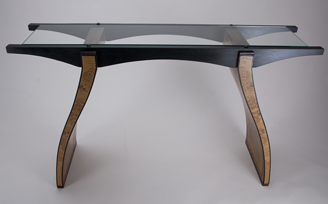 Side Table with Curvy, Veneered Legs and Glass Top