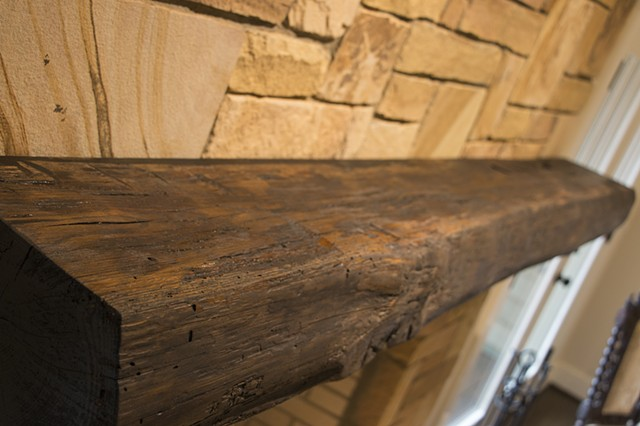 View of rustic mantle top